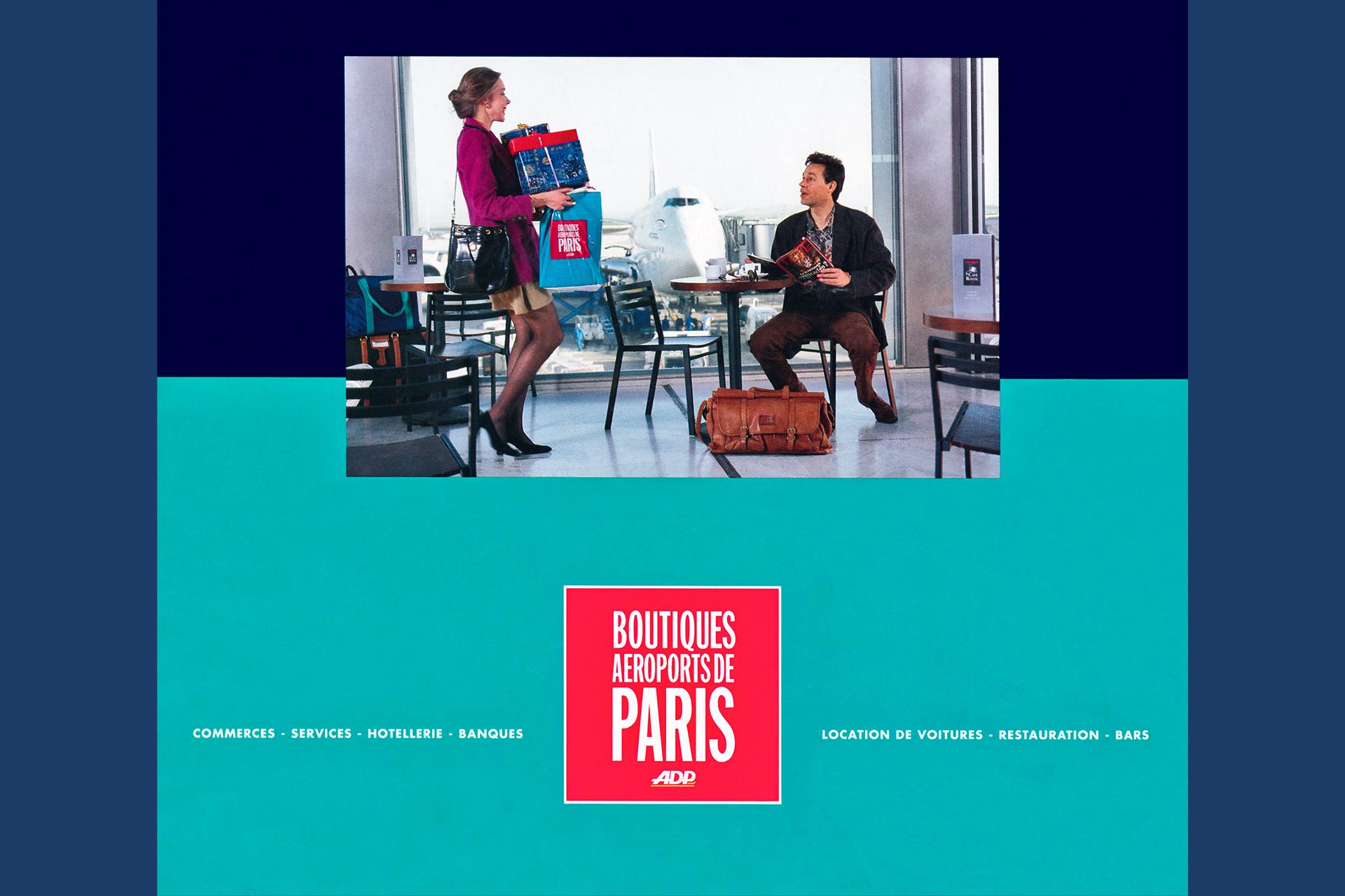 Plaquette publicitaire sur les boutiques de luxe des Aéroports de Paris. Réalisation avec mannequins