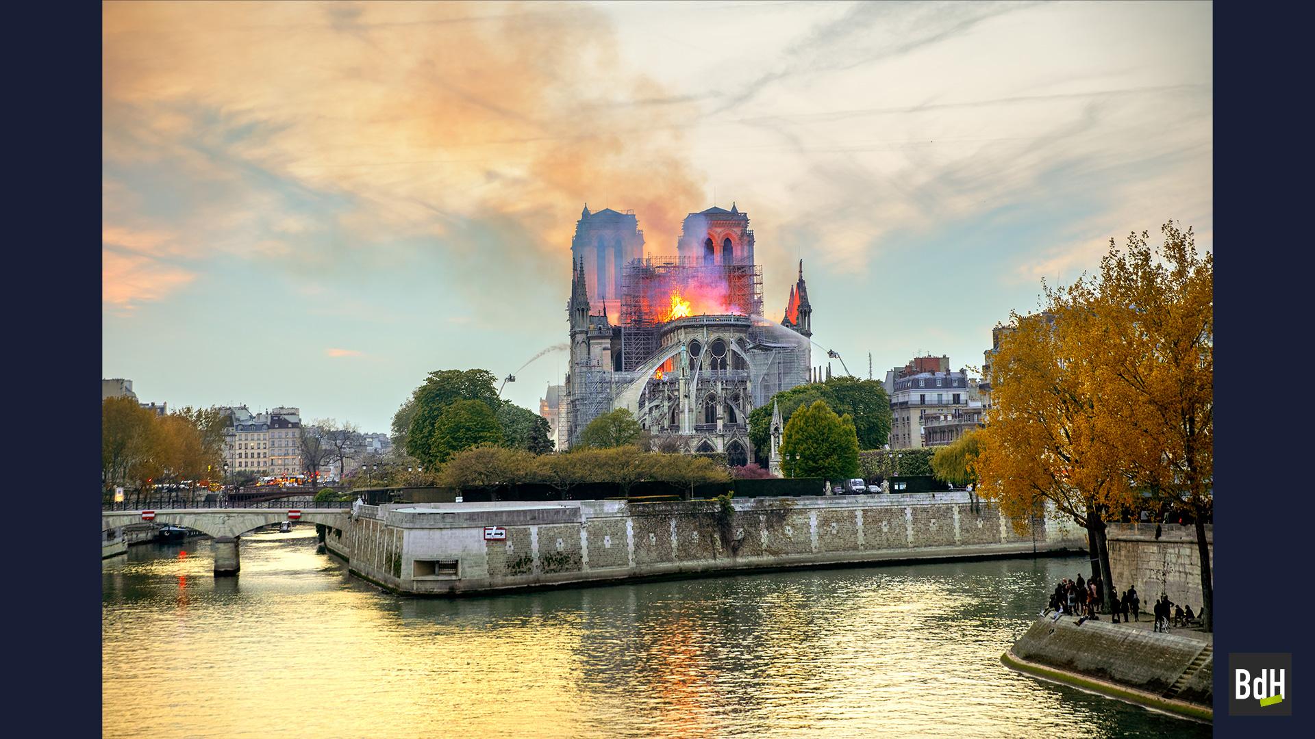 L'incendie de la Cathédrale Notre-Dame lors de travaux de restauration, le 15 Avril 2019 à Paris,